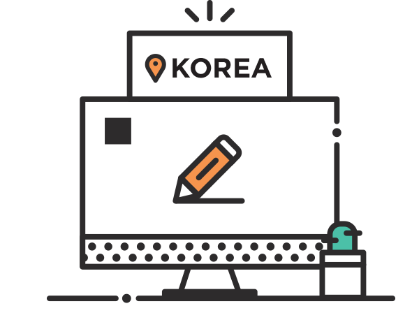 a monitor with a pen in it and Korea sign