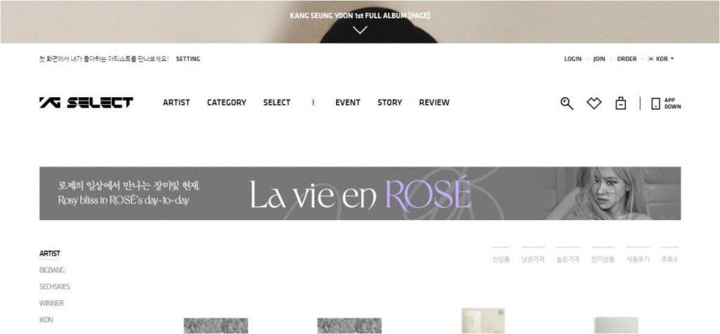 YG Select Website screenshot