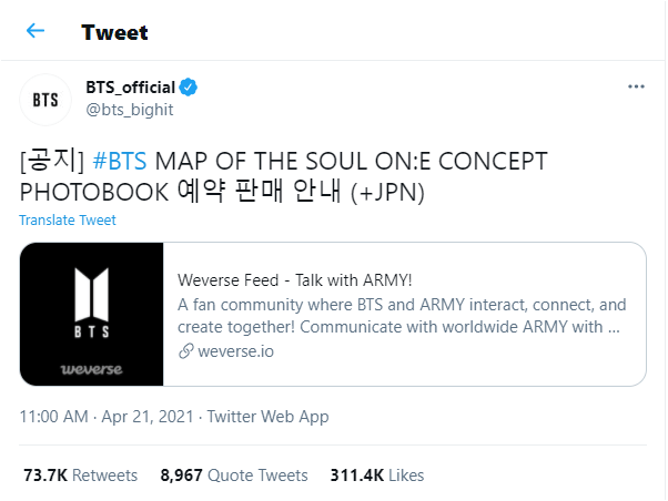 promoting concept photobook bts bighit twitter account