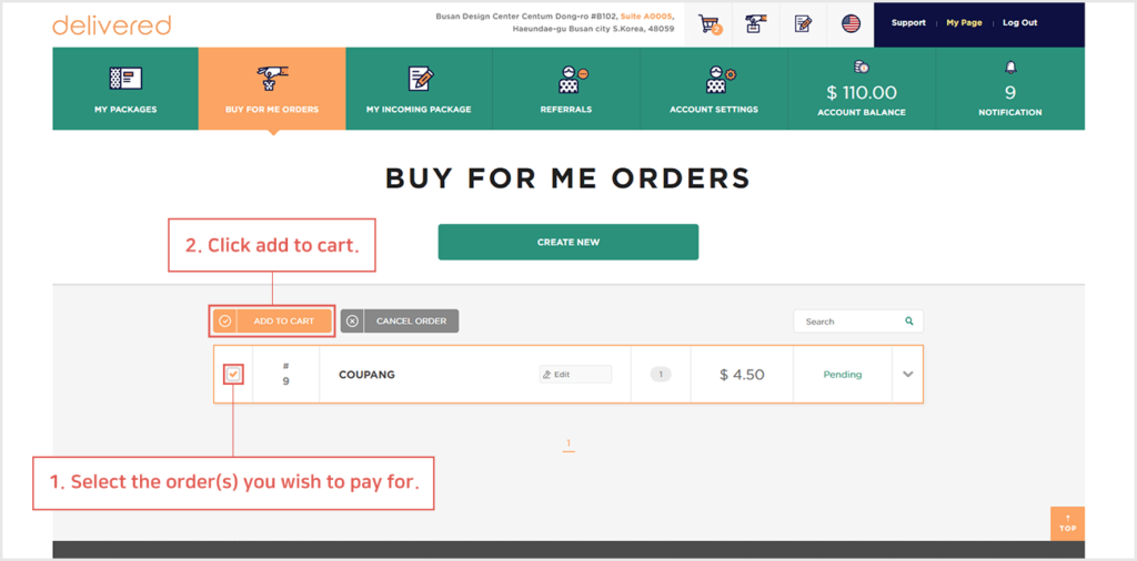 how do i pay for my we buy and ship order delivered korea 1
