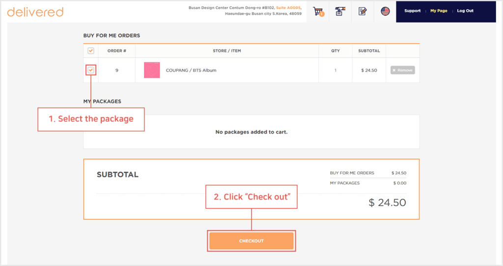 how do i pay for my we buy and ship order delivered korea 2