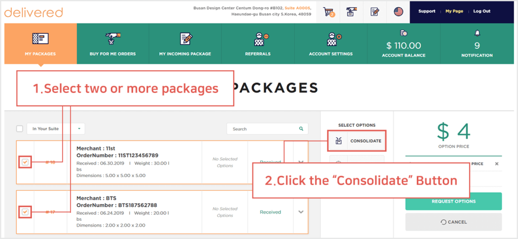 what is the difference between consolidation and repack and how do i request one delivered korea 1