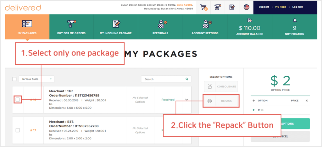 what is the difference between consolidation and repack and how do i request one delivered korea 2