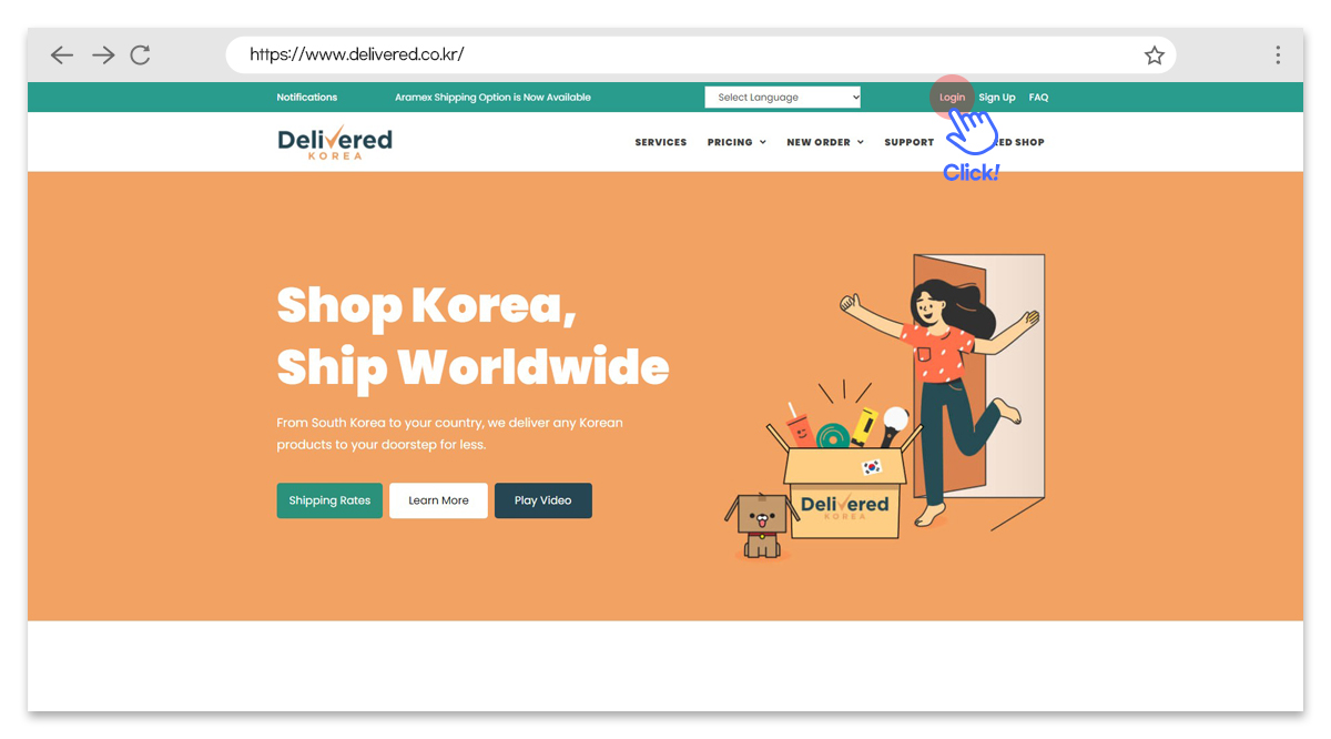 how do i log in to my account delivered korea